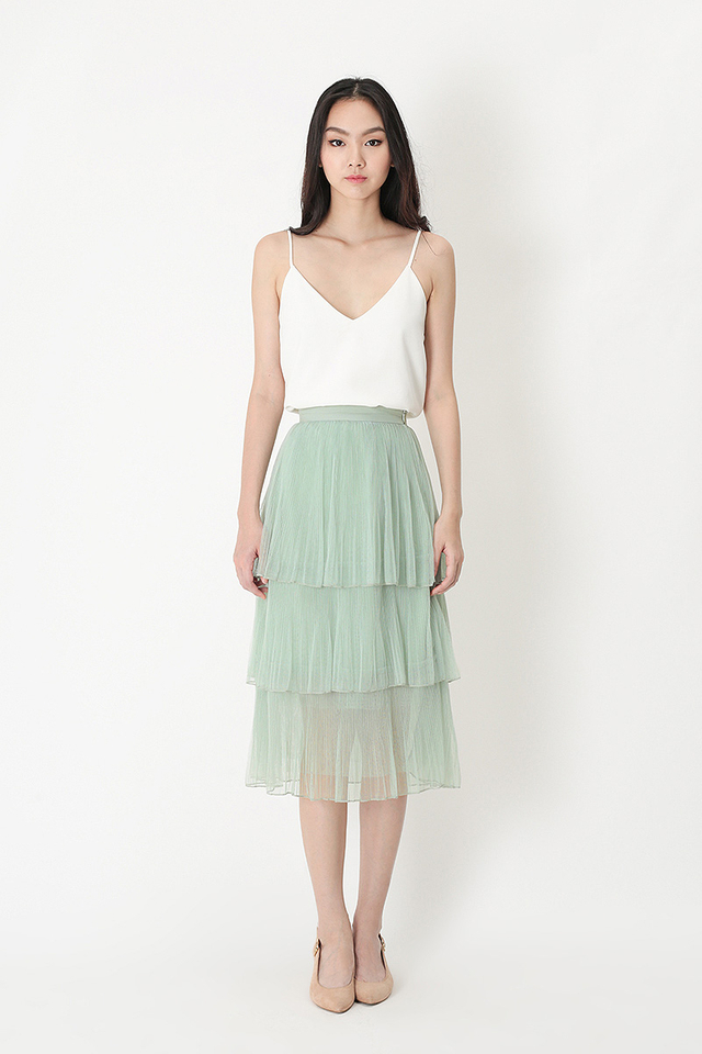 ARABELLE TULLE SKIRT IN SAGE
