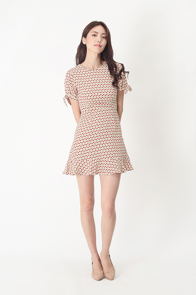 ASTRID CHERRIES SWING DRESS IN CREAM