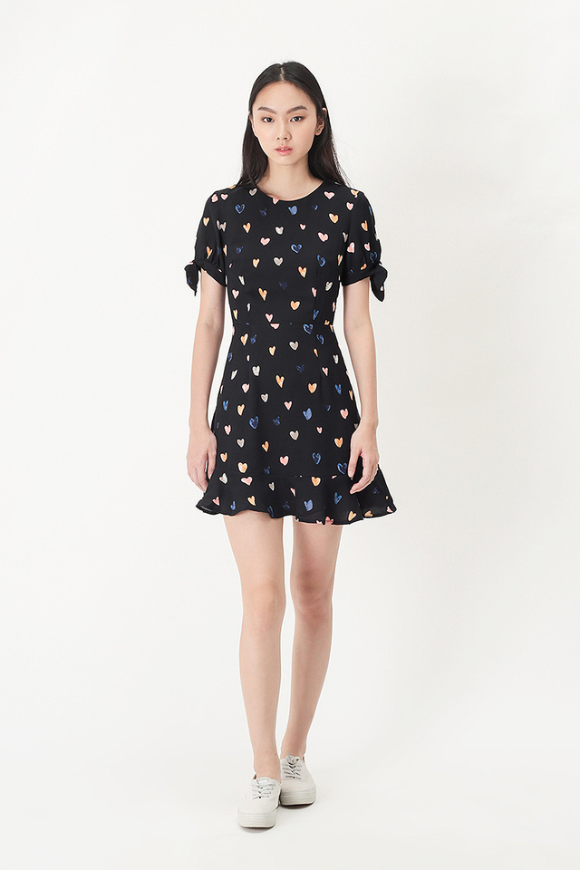 ASTRID MULTI HEARTS SWING DRESS IN BLACK