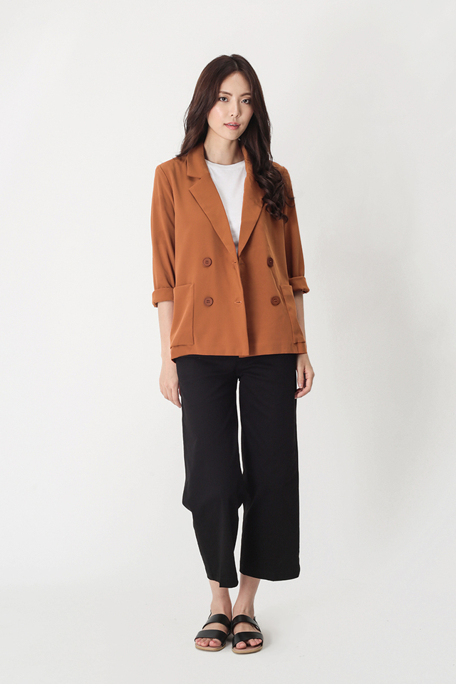 BERNADETTE POCKET BLAZER IN RUST