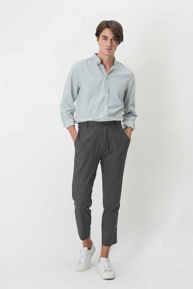 DEAN SLIM-FIT PINSTRIPE TROUSERS IN CHARCOAL
