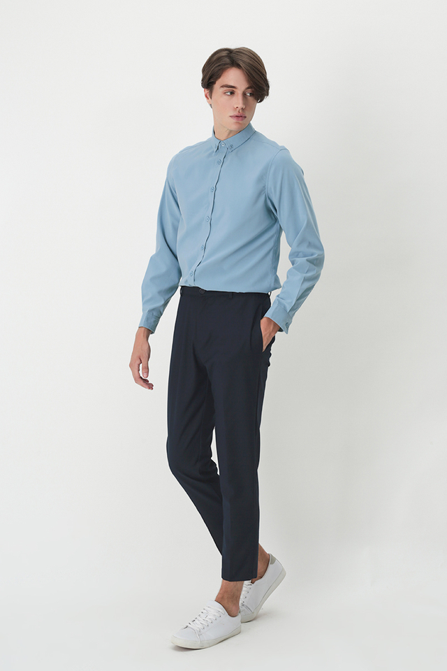 DEAN SLIM-FIT TROUSERS IN NAVY