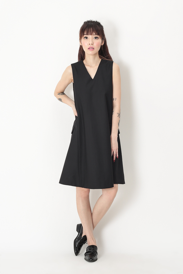 DENISE VEST DRESS IN BLACK