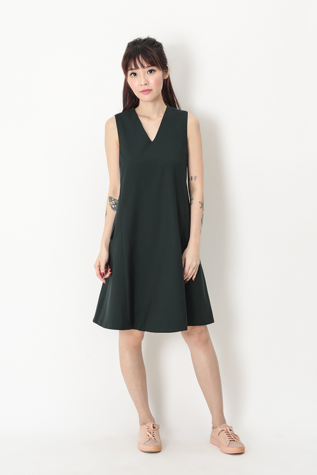 DENISE VEST DRESS IN DARK FOREST