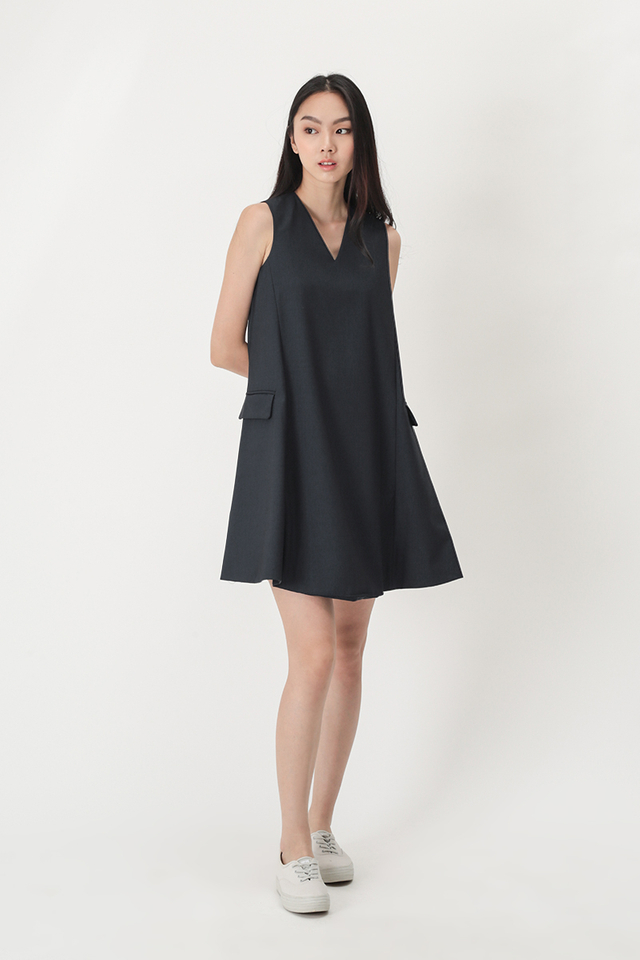 DENISE VEST DRESS IN DARK NAVY
