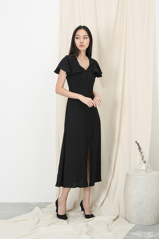 ELISABETH BUTTON MAXI DRESS IN BLACK