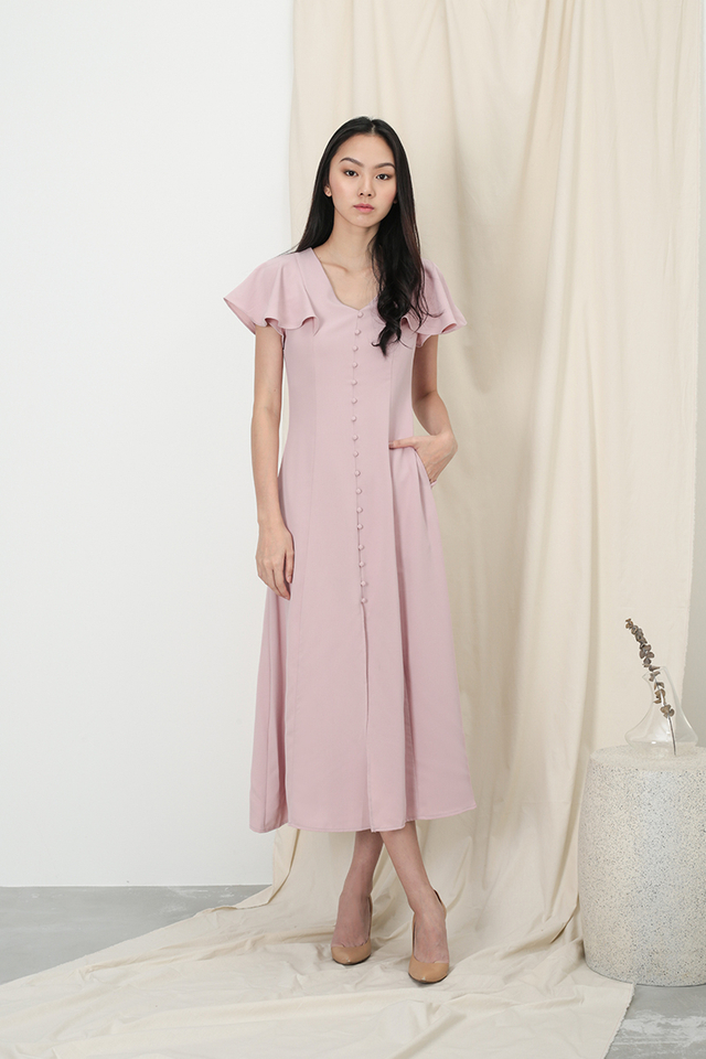 ELISABETH BUTTON MAXI DRESS IN DUSTY PINK