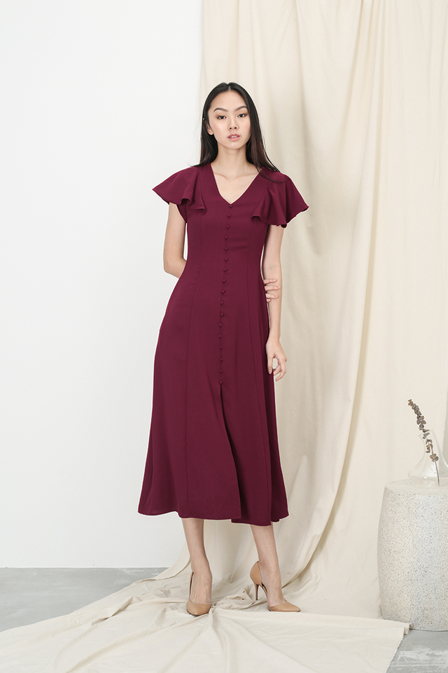 ELISABETH BUTTON MAXI DRESS IN WINE