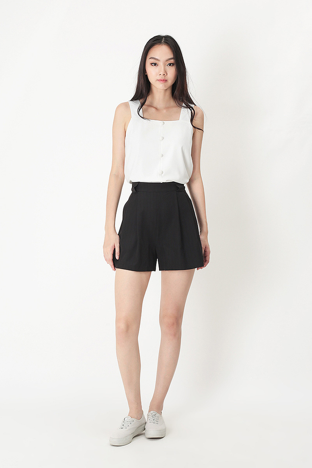 EMILY STRIPE SASH SHORTS IN BLACK