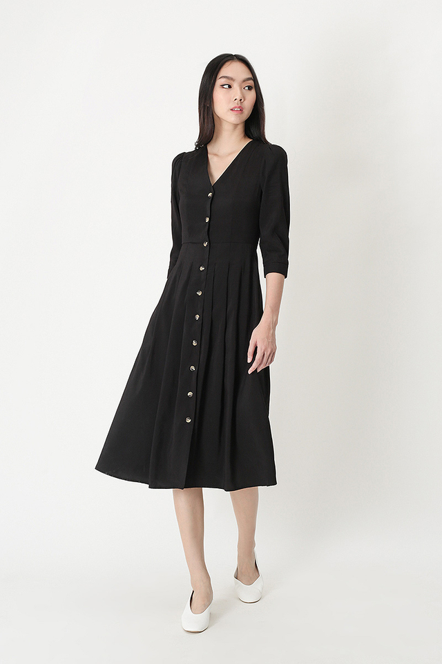 FRANCINE BUTTON MIDI DRESS IN BLACK