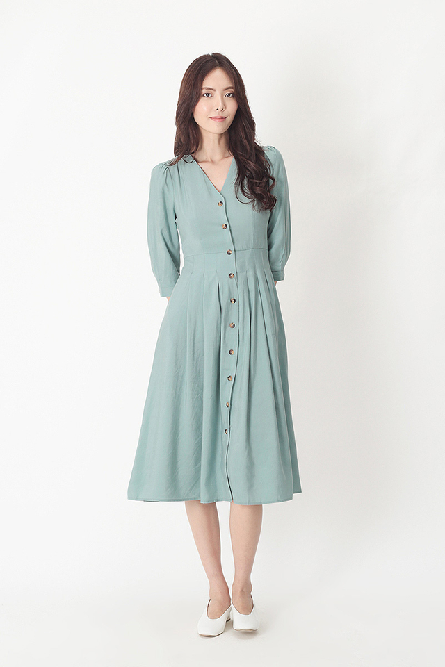 FRANCINE BUTTON MIDI DRESS IN DUSK BLUE