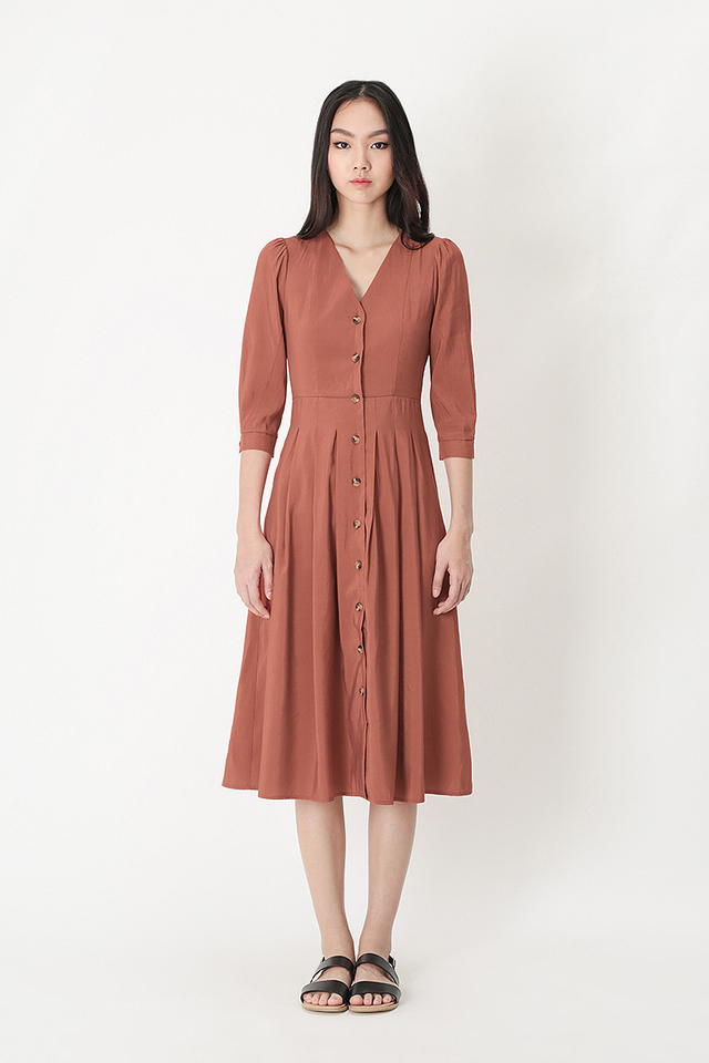 FRANCINE BUTTON MIDI DRESS IN ROSEWOOD