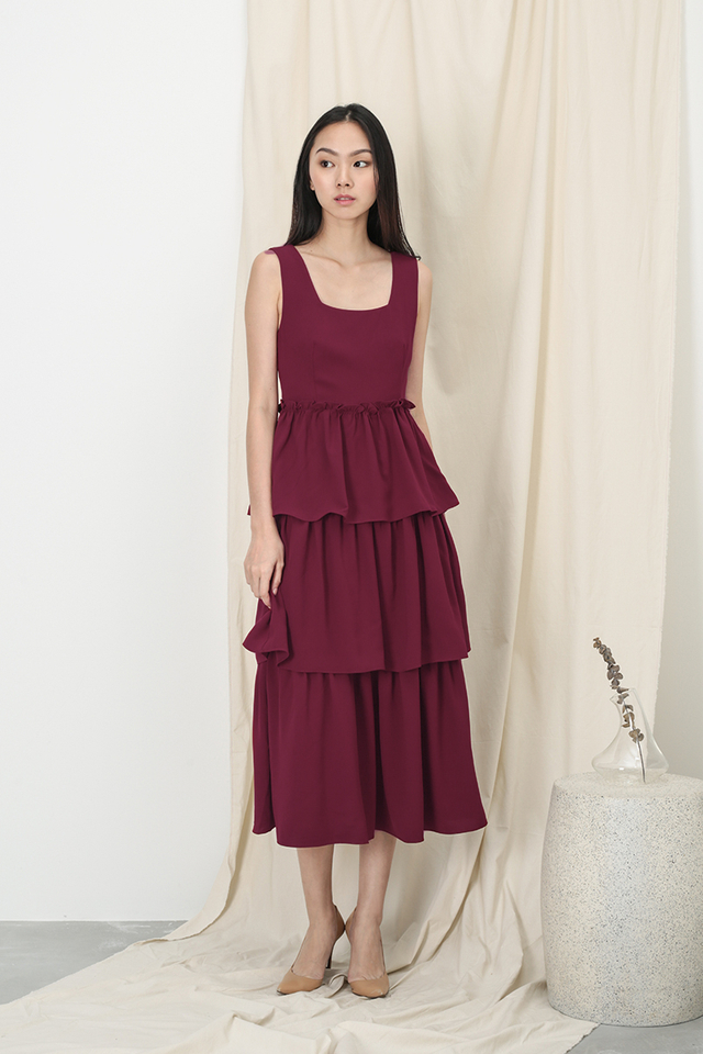 GRACIE TIER DRESS IN WINE