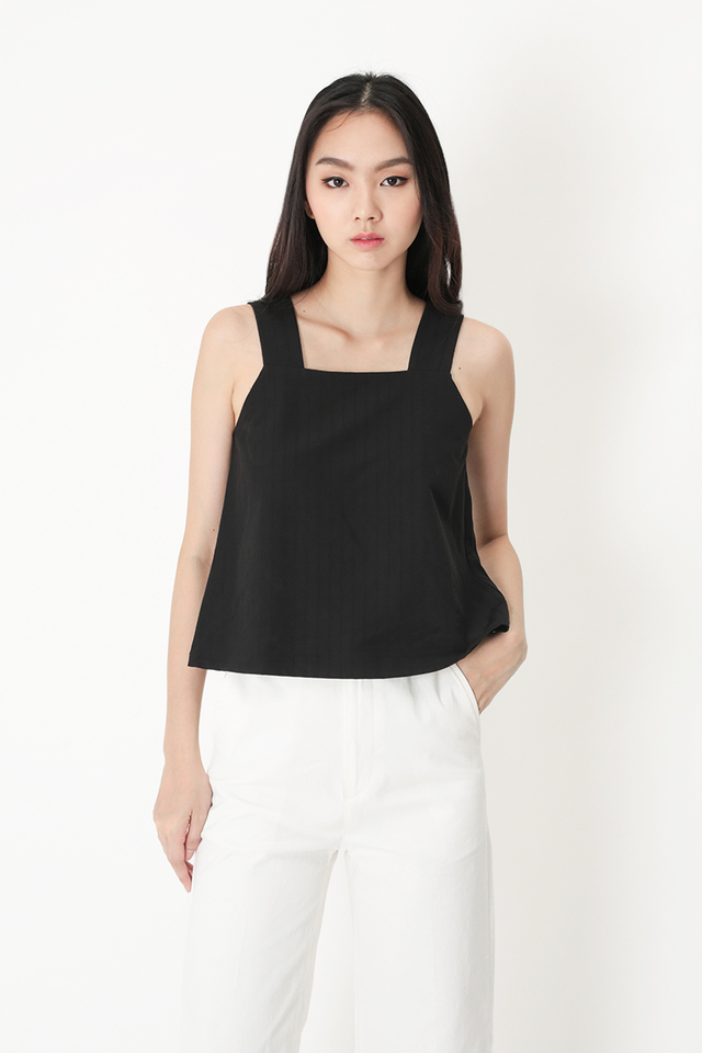 IDA STRIPE SQUARE NECK TOP IN BLACK