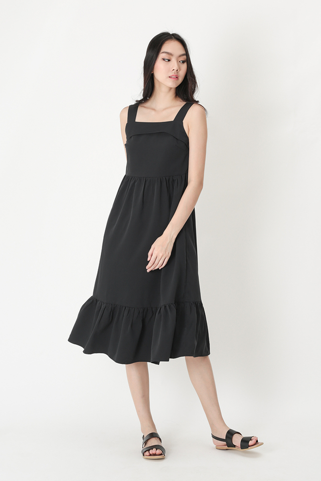JORDYN DROP HEM MIDI DRESS IN BLACK