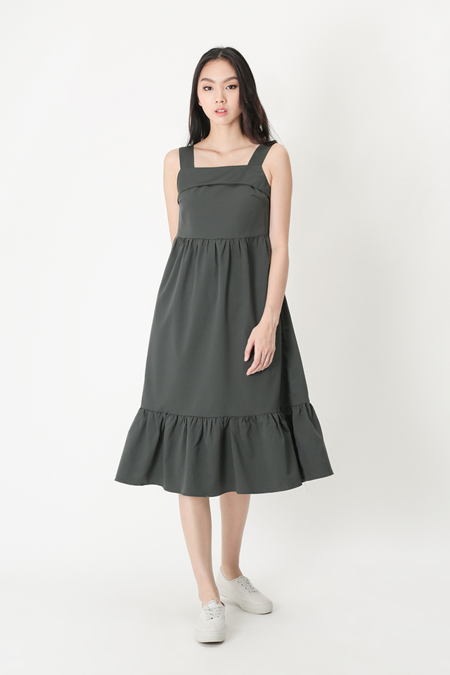 JORDYN DROP HEM MIDI DRESS IN EUCALYPTUS GREY