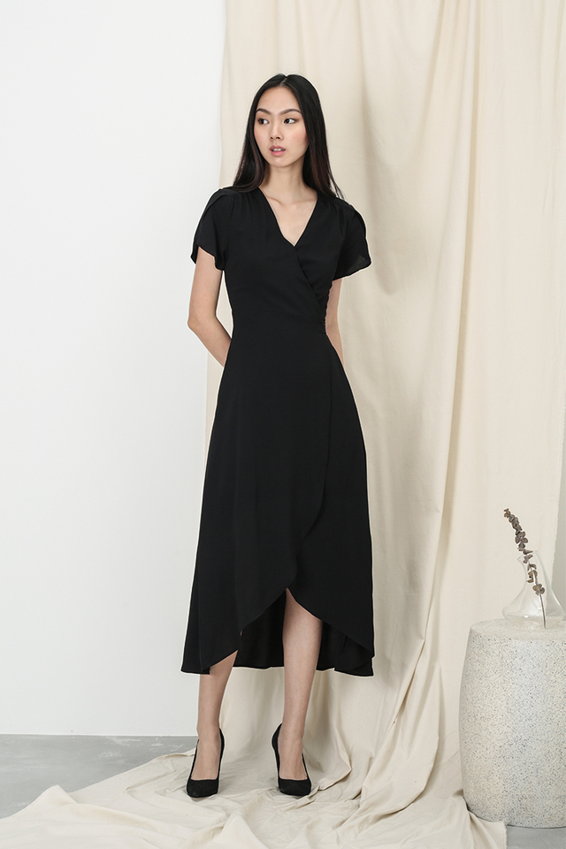 KATE OVERLAP WRAP DRESS IN BLACK