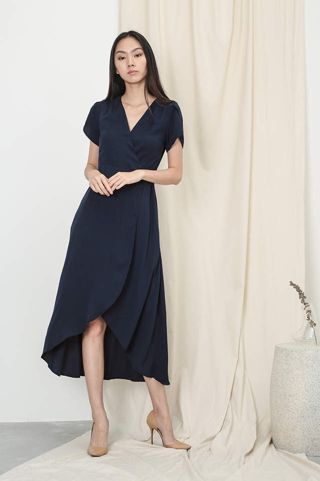 KATE OVERLAP WRAP DRESS IN NAVY