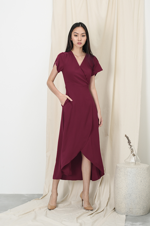 KATE OVERLAP WRAP DRESS IN WINE
