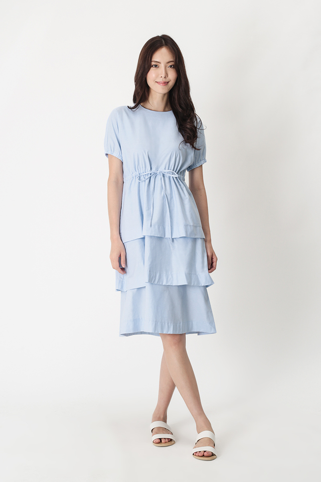 RACHAEL DRAWSTRING TIER DRESS IN FRENCH BLUE