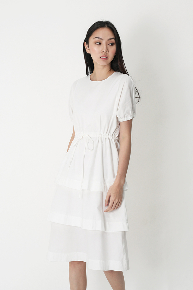RACHAEL DRAWSTRING TIER DRESS IN WHITE