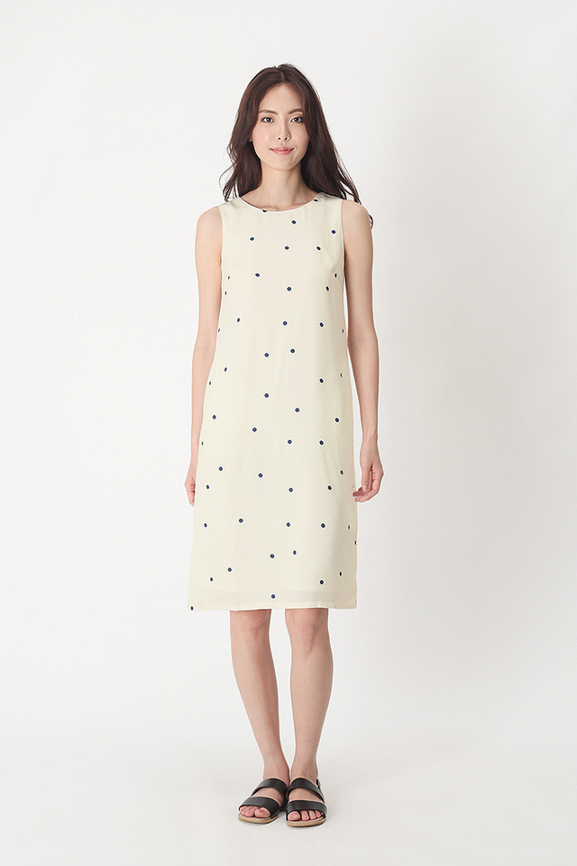 RUBIE POLKADOT TANK DRESS IN OFF-WHITE