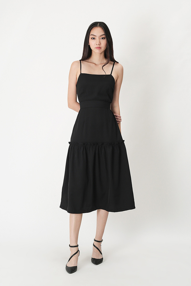 SAMANTHA FRILL HEM MIDI DRESS IN BLACK