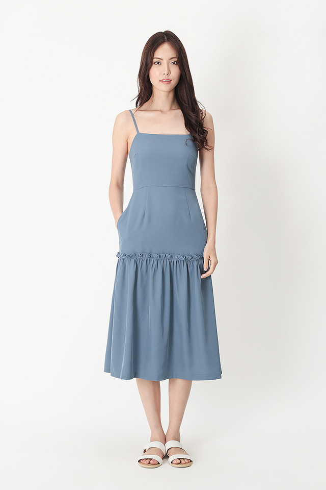 SAMANTHA FRILL HEM MIDI DRESS IN DUSK BLUE