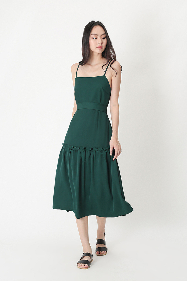 SAMANTHA FRILL HEM MIDI DRESS IN FOREST