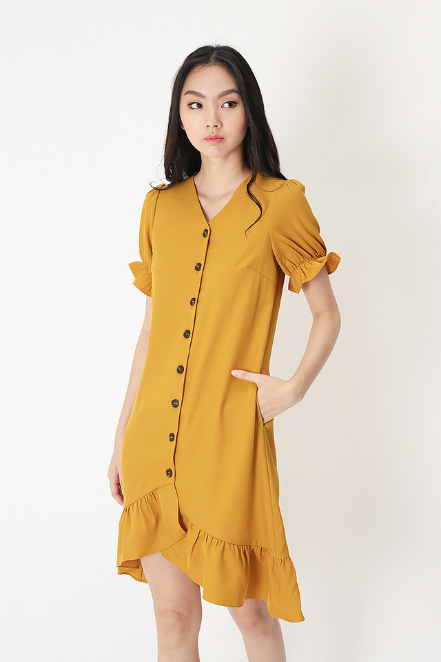 TAMMIE FRILL HEM DRESS IN SUNSHINE
