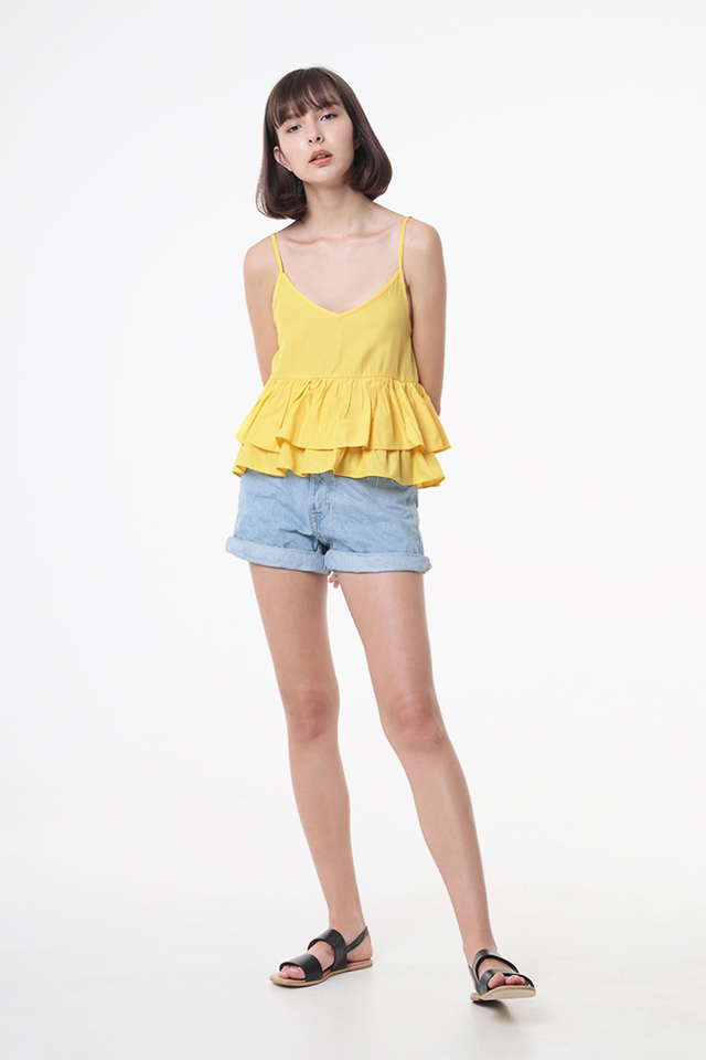 CAROLINE DUO TIER FRILL TOP IN PRIMROSE YELLOW