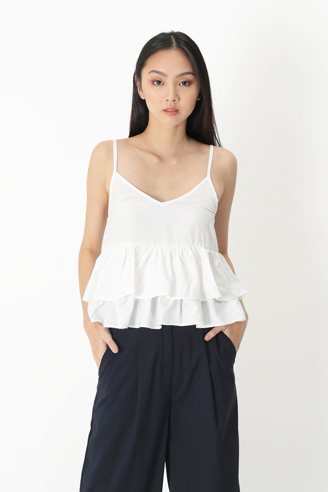 CAROLINE DUO TIER FRILL TOP IN WHITE