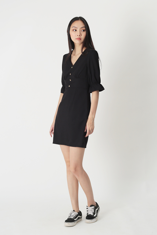 COLETTE V-NECK DRESS IN BLACK