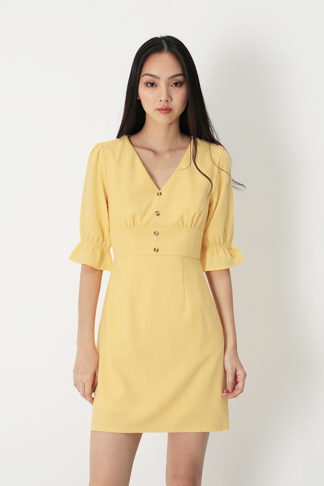 COLETTE V-NECK DRESS IN PRIMROSE YELLOW