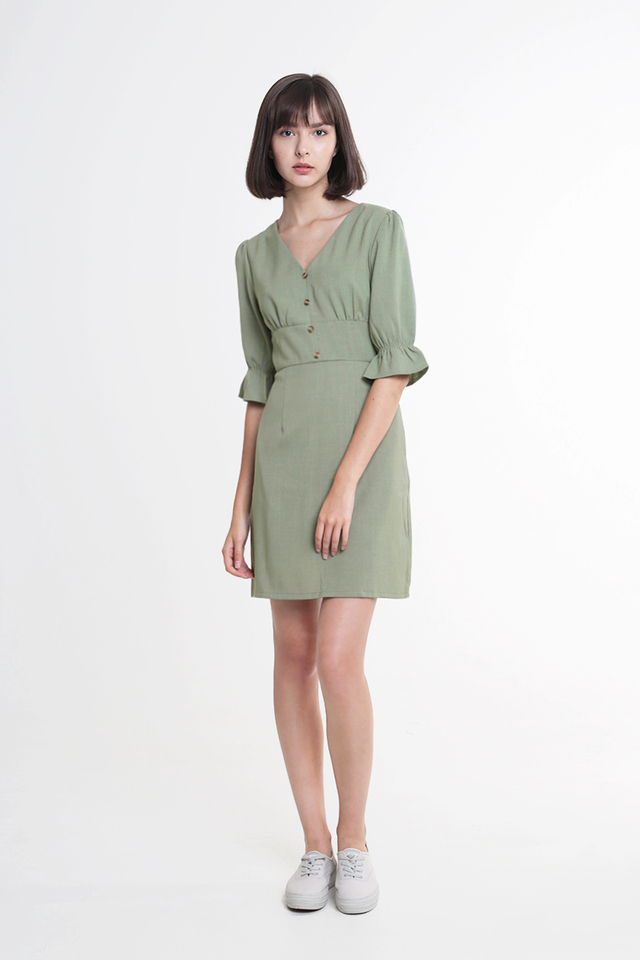 COLETTE V-NECK DRESS IN SAGE
