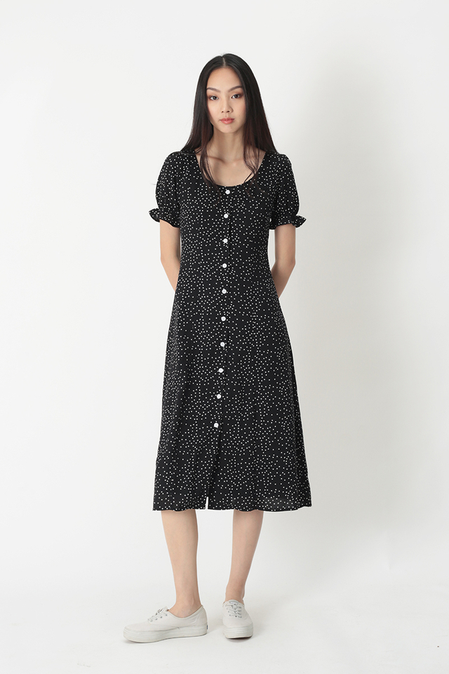 DAISY POLKADOT MIDI DRESS IN BLACK
