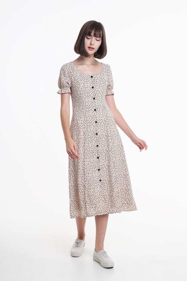 DAISY POLKADOT MIDI DRESS IN CREAM