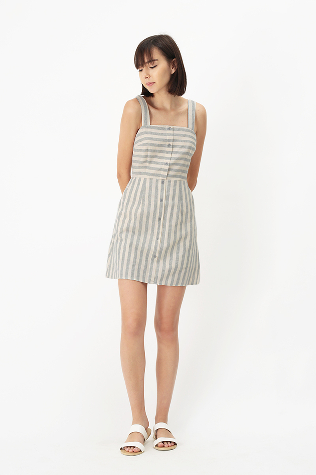 HARLOW STRIPE ROMPER DRESS IN HEATHER GREY