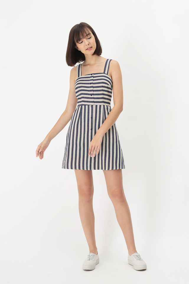 HARLOW STRIPE ROMPER DRESS IN NAVY