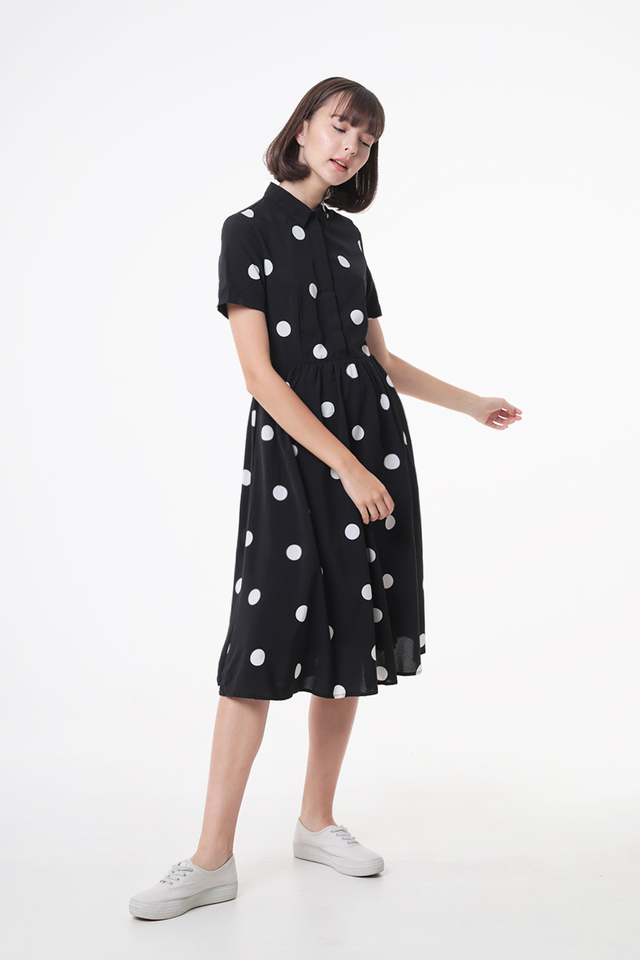 KATIE POLKADOT SHIRT DRESS IN BLACK