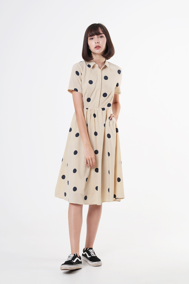 KATIE POLKADOT SHIRT DRESS IN CREAM