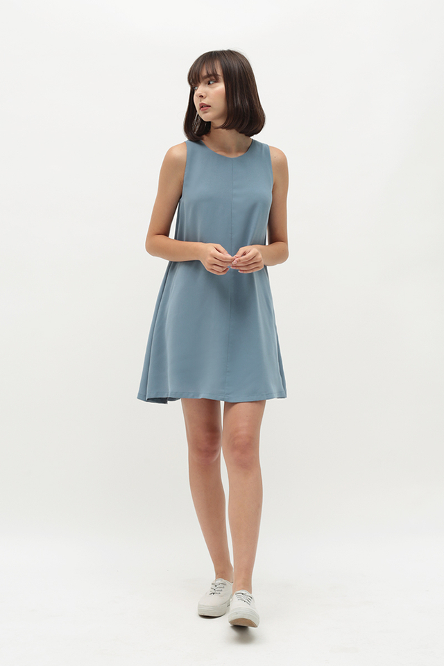 MELISSA TWO WAY TANK DRESS IN DUSK BLUE