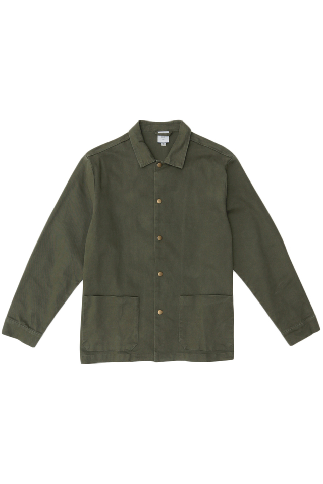 MORRIE PATCH POCKET SHIRT JACKET IN OLIVE