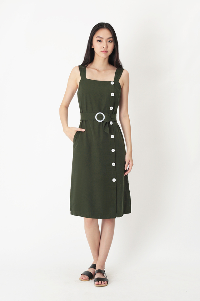 OCTAVIA MIDI DRESS IN VINEYARD GREEN
