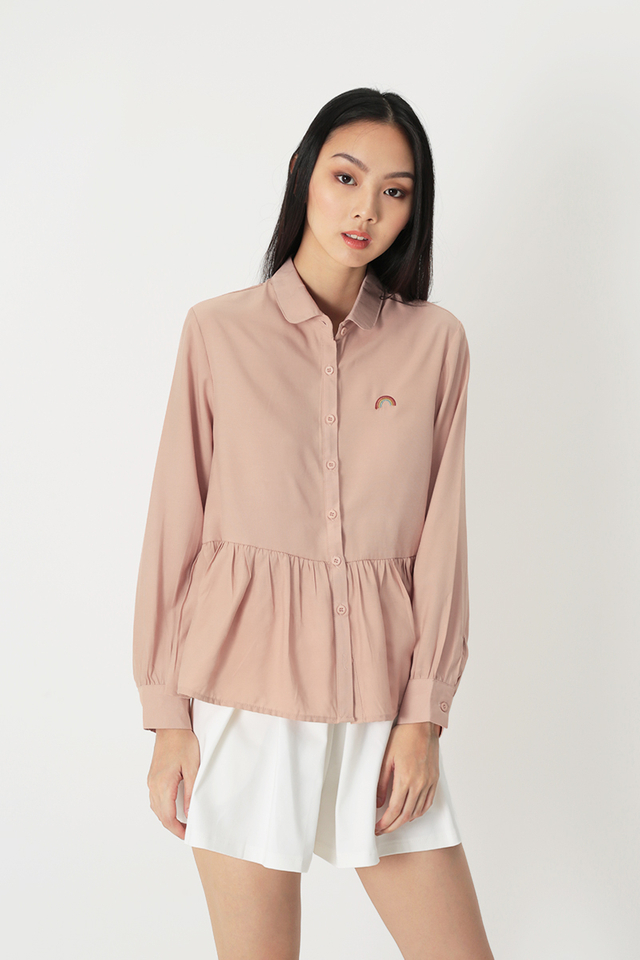 OVER THE RAINBOW EMBROIDERED TOP IN BLUSH