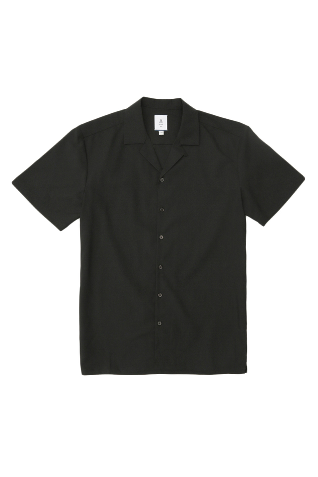 THEO SLIM-FIT CAMP COLLAR SHIRT IN BLACK