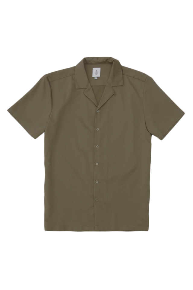 THEO SLIM-FIT CAMP COLLAR SHIRT IN UMBER