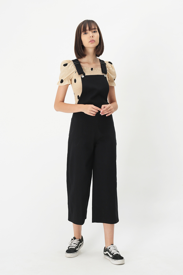 TOMMY SIDE ZIP DUNGAREE IN BLACK