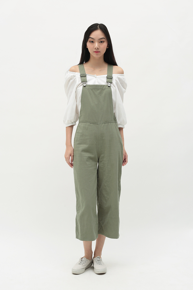 TOMMY SIDE ZIP DUNGAREE IN SAGE