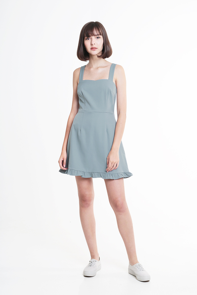ALLISON FRILL HEM ROMPER DRESS IN DUSK BLUE